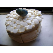 Maison Huit decorative clay box & cover with mother of pearl & semi-precious stone by Armen