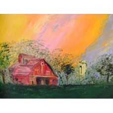 Maison Huit - art naif/ naive art - huile sur toile / oil on canvas  par Armen - yearning for the green space and the red barn