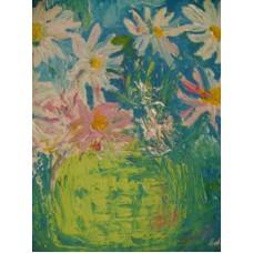 Maison Huit Huile sur toile, Folk / Art Naïf by Armen - a painted bouquet - variation