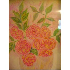 Maison Huit Huile sur toile, Folk / Art Naïf by Armen -  painted rose in a vase - variation