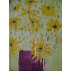 Maison Huit Huile sur toile, Folk / Art Naïf by Armen - a painted bouquet - variation -