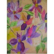 Maison Huit Huile sur toile, Folk / Art Naïf by Armen - florals - variation