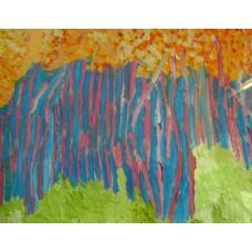 Maison Huit Huile sur toile, Folk / Art Naïf by Armen  - Trees - Variation